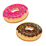 Donuts set. Collection of tasty donuts with different icings. Assorted donuts set. Collection of tasty realistic donuts with different icings isolated on white Royalty Free Stock Photography