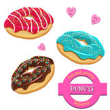 Donuts set. Collection of tasty donuts with different icings. Assorted donuts set. Collection of tasty realistic donuts with different icings. Yummy vector Stock Images
