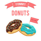 Donuts set. Collection of tasty donuts with different icings. Assorted vector donuts bakery poster. Collection of tasty realistic donuts with different icings Royalty Free Stock Photo