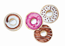Donuts set hand drawn watercolor painting on white background . isolated pictures  for object or Stock Image
