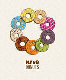 Donuts set. Menu in doodle design. Vintage style. Royalty Free Stock Photos