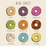 Donuts set. Menu in doodle design. Vintage style. Stock Image