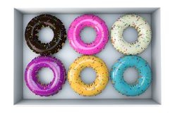 Donuts set on the realistic style and six favorite flavor with isolated white background royalty free illustration