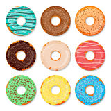 Donuts set. Sweet and tasty food icons background for any design solution. Vector illustration. Chocolste, glaze Royalty Free Stock Images