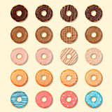 Donuts set. Sweet and tasty food icons background for any design solution. Vector illustration. Chocolste, glaze Stock Photography