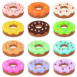 12 donuts with sprinkles Stock Image