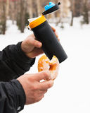 Donuts thermos outdoors Stock Images