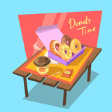 Donuts time concept Stock Photos