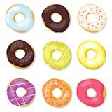 donuts ustawiający Obrazy Royalty Free