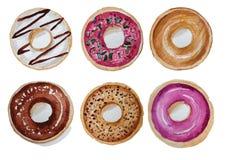 Donuts ustawiający wręczają patroszonego akwarela obraz na białym tle odosobneni obrazki dla przedmiota lub Zdjęcia Royalty Free