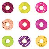 Donuts ustawiający Obraz Royalty Free