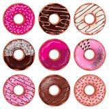 donuts ustawiający Zdjęcie Royalty Free