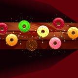 Donuts van diverse kleuren op een houten lijst Stock Foto's