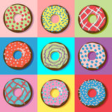 Donuts with various filling and sprinkles. Royalty Free Stock Images
