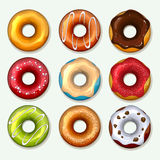 Donuts vector icons set in cartoon style Stock Image