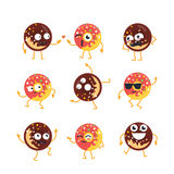Donuts - vector set of mascot illustrations. Royalty Free Stock Images