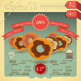 Donuts on vintage background Stock Images