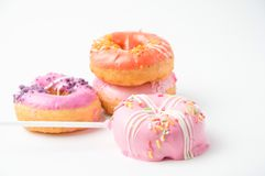 Donuts on white background. Donut food on white royalty free stock photography