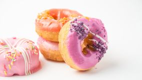 Donuts on white background. Donut food on white Royalty Free Stock Images