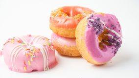 Donuts on white background. Donut food on white stock photo