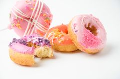 Donuts on white background. Donuts sweety on white background royalty free stock image