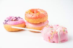 Donuts on white background. Donuts sweety on white background stock images