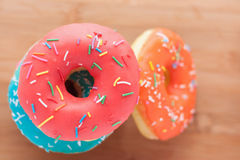 Donuts on a wooden background. Junk food. Fast food.  Royalty Free Stock Photography