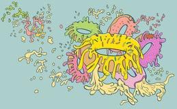 Donuts wypełniający z kwaśną śmietanką topili niedbałego przepływ Fotografia Royalty Free
