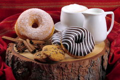 Donuts zebra and sugary donuts Royalty Free Stock Photography