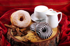 Donuts zebra and sugary donuts Royalty Free Stock Image