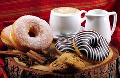Donuts zebra and sugary donuts Stock Images
