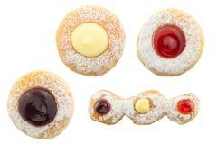 Donutsinzameling op witte achtergrond wordt geïsoleerd die Stock Afbeelding