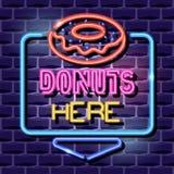 Donutsneon som annonserar tecknet stock illustrationer