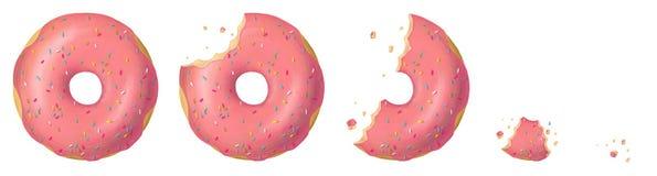 Donutsrosa färguppsättning vektor illustrationer