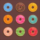 Donutssymbolsuppsättning Royaltyfri Bild