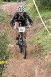 Donwhill cyclist stock photo