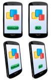 Donwload e apps del buy con il telefono mobile Fotografia Stock Libera da Diritti