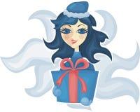 Donzela com um presente Fotos de Stock Royalty Free