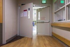 Doo at corridor in a modern hospital. Stock Photos