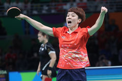 DOO Hoim Kei at the Olympic Games in Rio 2016. DOO Hoim Kei playing table tennis  at the Olympic Games in Rio 2016 Royalty Free Stock Photography