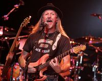 The Doobie Brothers perform in concert stock photos