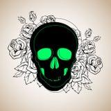 Dood, dode schedel, skelet, Halloween, illustratie, beeldverhaal, verschrikking royalty-vrije illustratie