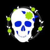 Dood, dode schedel, skelet, Halloween, illustratie, beeldverhaal, verschrikking stock illustratie