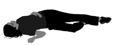 Dood meisje die op het stoepsilhouet liggen Dronken meisje onbewust na partij Verwonde dame na het ongeval van de autoverbrijzeli stock illustratie