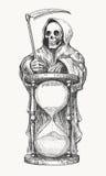 Dood met Zeis en Zandloper stock illustratie