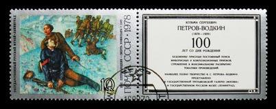 Dood van Commissar door K Petrov-Vodkin, 1928, Geboorteeeuwfeest van Royalty-vrije Stock Foto
