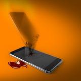 Dood van technologie: volkomen gebroken smartphone met ziel het overgaan Stock Foto