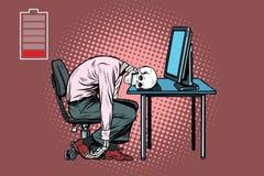 Dood zakenmanskelet bij de computer stock illustratie