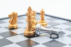 Doodde de het spel gouden speler van de schaakraad zilveren koning voor commerciële Com Stock Afbeelding