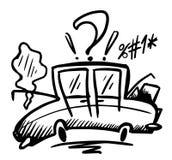 Doodle łamający samochód royalty ilustracja